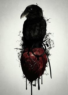 Raven and Heart Grenade Art Print by Nicklas Gustafsson. All prints are professionally printed, packaged, and shipped within 3 - 4 business days. Choose from multiple sizes and hundreds of frame and mat options. Finger Tattoos, Body Art Tattoos, Sleeve Tattoos, Tatoos, Crow Tattoos, Ram Tattoo, Scary Tattoos, Tattoo Art, Vikings