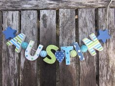 AUSTIN  WOODEN LETTERS LETTER DOOR NAME BABY SHOWER DECORATION  SHABBY CHIC