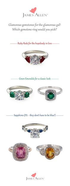 Gemstones Galore! James Allen offers sparkly gemstones such as Emeralds, Rubies, and Sapphires. Pair your favorite gemstone with one of our beautiful custom settings on JamesAllen.com. Which gemstone ring do you like the best? #Jamesallenrings