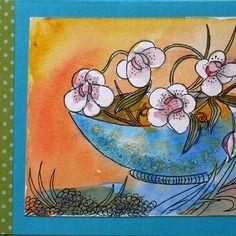 Carte postale d'art double anniversaire ou fête ,automne dessin original le bol aux orchidées