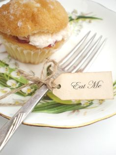 Eat Me Favor Tags Alice In Wonderland Mad Hatters Tea Party Set Of 12 Vintage Inspired Handmade Tiny Tags. $3.50, via Etsy.