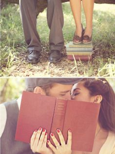 Engagement Photos How to have the best literary wedding ever - Wedding bells and book lovers, best combination ever. Engagement Couple, Engagement Pictures, Engagement Shoots, Wedding Pictures, Wedding Engagement, Our Wedding, Dream Wedding, Wedding Bells, Trendy Wedding