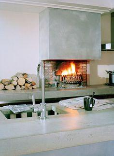 keuken-haard. keuken met open haard