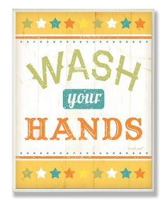 Yellow 'Wash Your Hands' Wall Art