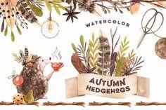 Watercolor Autumn Hedgehogs by Spasibenko Art on @creativemarket