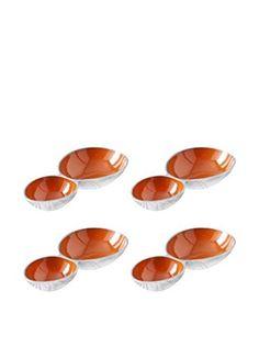 Shiraleah Set of 4 Orange Pop Double Compartment Snack Bowls