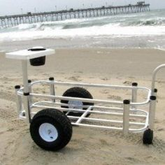 Wheeled fishing carts are becoming one of the most popular items in the fishing world. Great way to get all the fishing gear to the best fishing spot. Crappie Fishing Tips, Fishing Rigs, Surf Fishing, Best Fishing, Saltwater Fishing, Fishing Knots, Fishing Stuff, Beach Fishing Cart, Beach Cart
