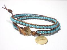 "Fine turquoise woven double wrap bracelet with ""Dream"" charm. $25.00, via Etsy."