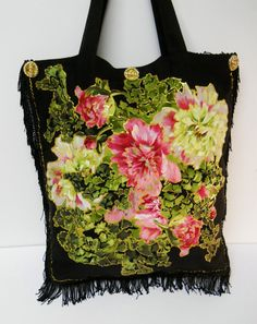 Black Canvas Tote With Custom Pink Floral Fabric by paulagsell, $48.00
