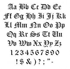 Old English Graffiti Lettering Alphabet Stencils