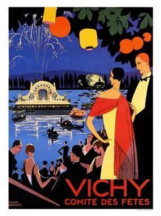 Vintage French Art Deco travel poster for Vichy and their Festival Committee by Roger Broders, 1926