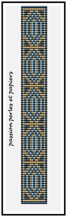 Bracelet perle miyuki métier à tisser bleu doré: