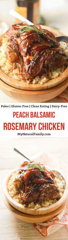 Balsamic Rosemary Peach Glazed Chicken Recipe is so easy to put together and is such an elegant combo of flavors. Fresh summer peaches and rosemary pair so well with a rich balsamic reduction that coats the chicken thighs and results in a tender, glossy, flavorful dish. {Paleo, Clean Eating, Gluten Free, Dairy Free}
