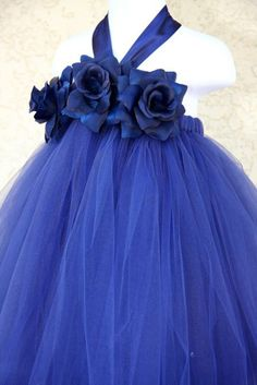 Sapphire Blue Flower girl Tutu Dress - Adorable!