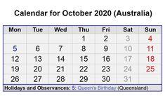 October 2020 Australia calendar with Holidays October Calendar, 2019 Calendar, Federal Holiday, Queen Birthday