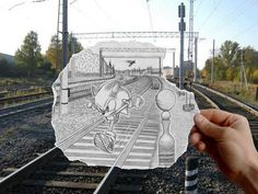Bringing photos to life with drawings. Sonic the Hedgehog. Train tracks.