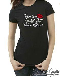 Funny  Police Officer Wife Girlfriend T-Shirt Ladies I Love My Husband Boyfriend