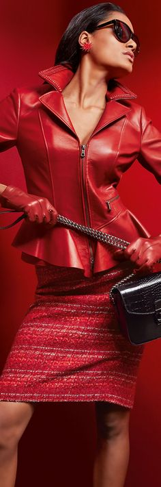 Great red leather, waist flared short jacket, red leather gloves and red striped pencil skirt! Red Fashion, Leather Fashion, African Fashion, Madeleine Fashion, Simply Red, Tweed Skirt, Shades Of Red, Lady In Red, Dress To Impress