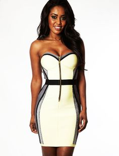 Clothing : Bandage dresses : 'Joie' Crystal Embellished Yellow Grey Illusion Bandage Dress