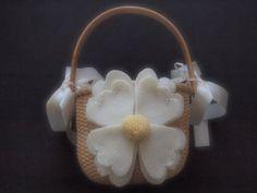 Flower Girl Basket Wedding Ivory Yellow 70 custom flower colors available by ArtisanFeltStudio, $26.00
