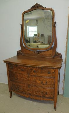 Antique Serpentine Tiger Oak Dresser With Beveled Mirror