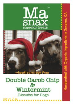 our holiday biscuit: Double Carob Chip & Wintermint www.masnax.com