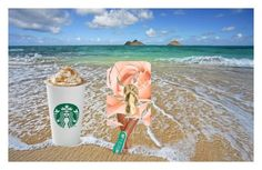 """want some coffee on the beach?"" by used2bnewvintage ❤ liked on Polyvore featuring art"
