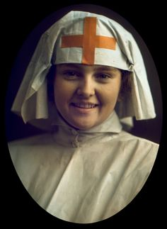 Nurse. John G. Capstaff, English, ca. 1914-1917 color plate, assembly process (two-color Kodachrome)