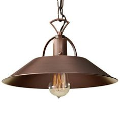 Urban Renewal Pendant with Antique Copper Finish. Bulbs: 1 - medium A-21 100w Max. 120v - (Not included). Body (Steel). Listed for Dry Locations.