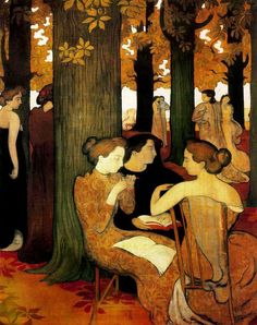 Maurice Denis, Le Muse, olio su tela, Parigi, Musée d'Orsay Maurice Denis, Oil On Canvas, Canvas Art, Canvas Prints, Wood Canvas, Heinrich Vogeler, Art Quotidien, Sacred Groves, Avant Garde Artists