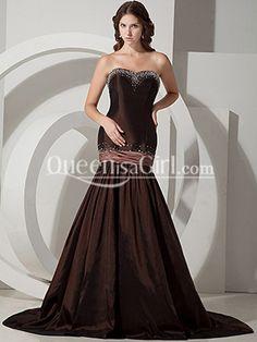 Mermaid / Trumpet Strapless Sweetheart Long / Floor-Length Taffeta Prom Dress