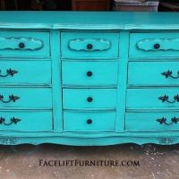 Turquoise+French+Provincial+Dresser+with+Black+Glaze.+Original+pulls+painted+black.+From+Facelift+Furniture's+Dressers+collection.