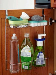 Kitchen Sink sink storage - You don't have to shell out the big bucks to get a beautifully organized kitchen. These affordable storage solutions let you keep your cash while making your own kitchen storage-rich. Under Kitchen Sink Storage, Kitchen Sink Caddy, Diy Kitchen, Kitchen Cabinets, Kitchen Ideas, Bathroom Storage, Kitchen Hacks, Kitchen Themes, Country Kitchen