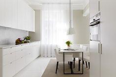 lichtdurchlässige bodenlange Gardinen für moderne Küche
