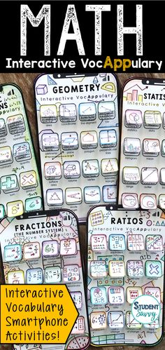 Math Vocabulary Bundle - Interactive VocAPPulary™, EDUCATİON, Math Vocabulary Activities - Interactive VocAPPulary™ (Editable Vocabulary Versions Included) These creative resources are a simple, yet effective w. Math Vocabulary Wall, Vocabulary Activities, Math Worksheets, Math Resources, Maths, 5th Grade Activities, 5th Grade Math, Fourth Grade, Third Grade