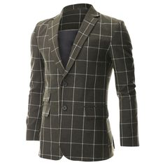 FLATSEVEN Mens Khaki Single 2 Button Overcheck Blazer Sportcoat with Ticket Pocket(BJ480) - Blazers #mensfashion #men #clothing #jacket #FLATSEVEN #outfits