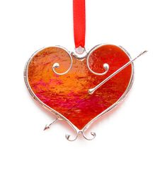 Valentines Red Heart -  Ornament / Suncatcher - Stained Glass on Etsy, $26.00