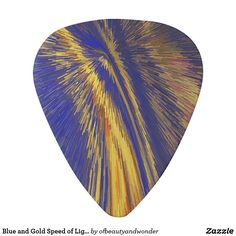 Blue and Gold Speed of Light Guitar Pick - light gifts template style unique special diy Guitar Bag, Gold Gifts, Guitar Picks, Gold Style, Personalized Products, Hand Fan, Triangle, Vibrant, Traditional