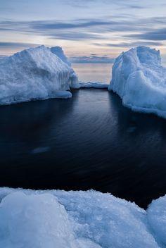 """Ice Blocks on Superior.  """"Ice blocks washed up on Lake Superior's shoreline at sunset"""", by Bryan Hansel"""