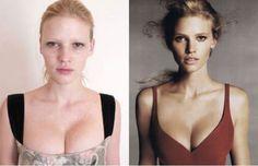 Victoria's Secret models before and after makeup