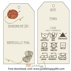 Knitting Patterns Gifts Crochet/knitting Gift Tags with care instructions {Free Printables} by Just Be Happy Crochet Knitting Projects, Knitting Patterns, Crochet Patterns, Stitch Patterns, Free Printable Gift Tags, Free Printables, Printable Templates, Just Be Happy, Crochet Gifts