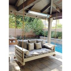 outdoor porch bed swing 18 - iTs Home Ideas Outdoor Porch Bed, Backyard Patio, Backyard Landscaping, Outdoor Spaces, Outdoor Living, Outdoor Decor, Patio Decks, Porch Swings, Bed Swings