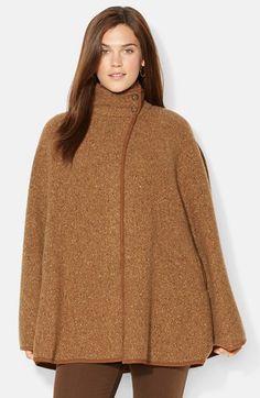 Lauren Ralph Lauren Suede Trim Wool Blend Cape (Plus Size) available at #Nordstrom