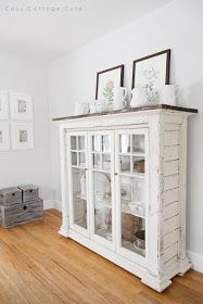 Cozy.Cottage.Cute.: White Dishes on the Dining Room Cabinet
