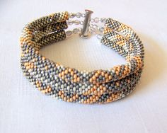 SALE Beadwork 3 Strand Bead Crochet Rope Bracelet in by lutita