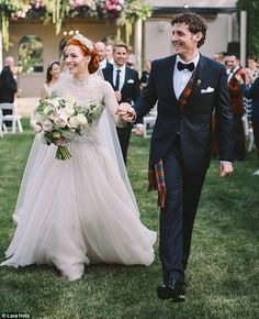Here comes the bride! The Wiggles' Emma Watkins and Lachy Gillespie tied the knot on Saturday at Bowral, in NSW, with Emma stunning in an ivory lace dress