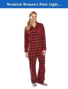 Woolrich Women's First Light Flannel Sleep Set, Red/Black Buffalo, XX-Large. The rich plaids we chose with our incredibly soft 100 percent cotton flannel makes our first light flannel lounge wear set the perfect option after a long day-or before it's underway. Bias detailing and side vents on the top for a relaxed fit. Bottoms have a relaxed elastic waistband and functional draw cord.