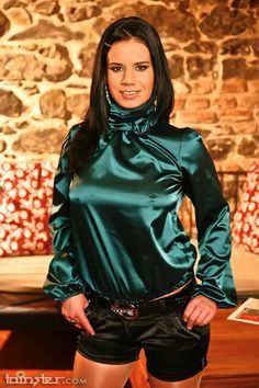 Femdom Satin Blouse - Long Blouse With Pants