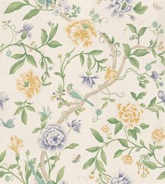 Porcelain Garden Lemon/Leaf Green wallpaper by Sanderson