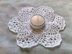 Thanksgiving Teelicht Halter in weißer Baumwolle gehäkelt